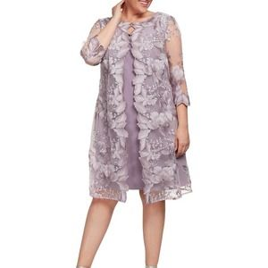 Alex Evenings Orchid Embroidered Faux Jacket Dress